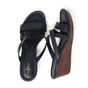Cole Haan | Nike Air Black Open Toe Wedges Size 10